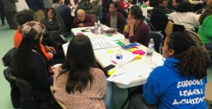 community members working together around table