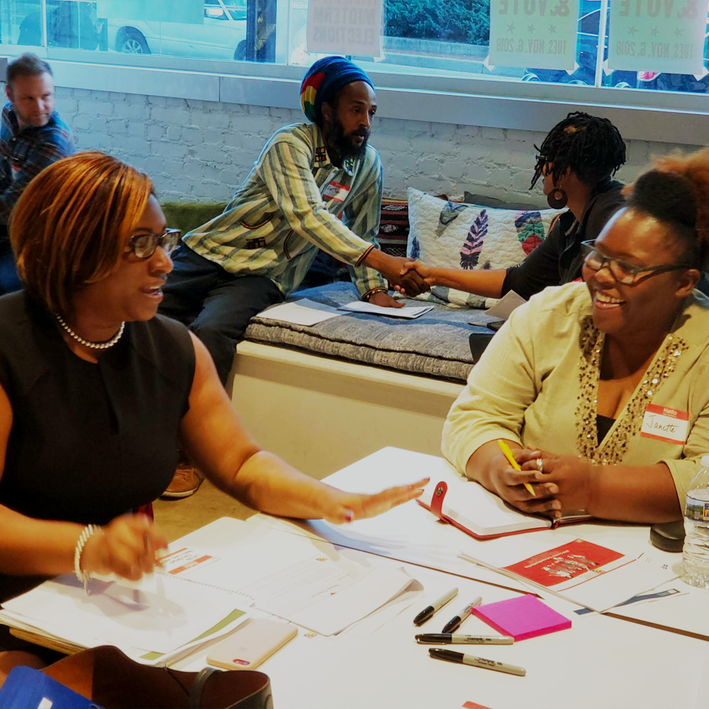 two women participating in a grantee onboarding event